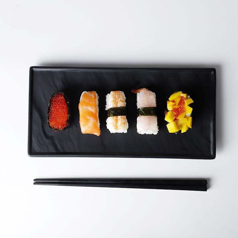 Restaurant Rectangular Dinner Plates, Better Quality Japanese Sushi Plate Ceramic, Hotel Black Stone Slate Steak Plate/