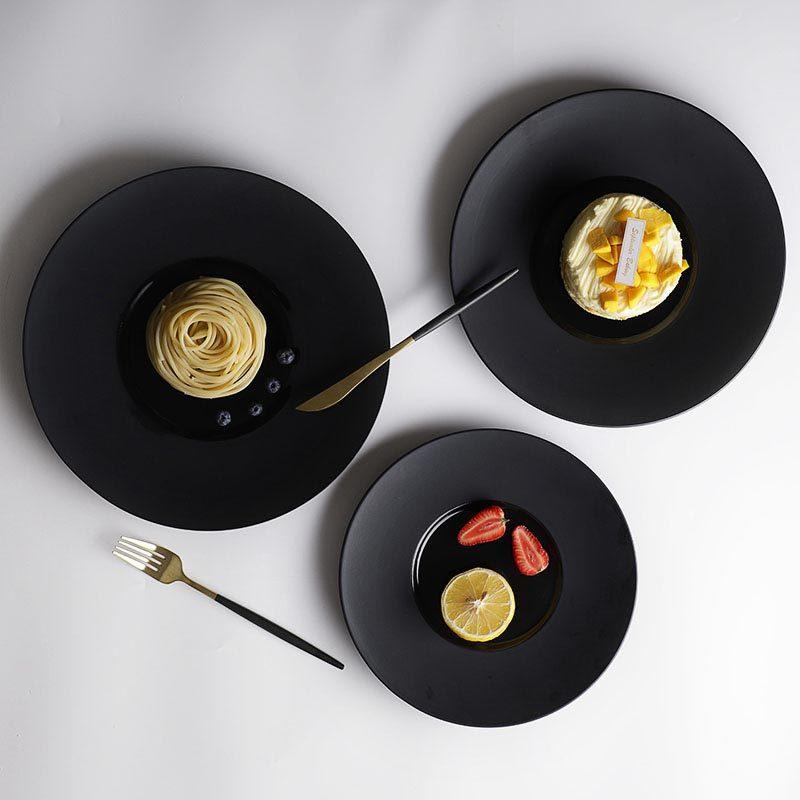 28ceramics Japanese Style 10/11/12 Inch Black Plates For Restaurant, 28ceramics Japanese Ceramic Tableware Black Ceramic Plates*