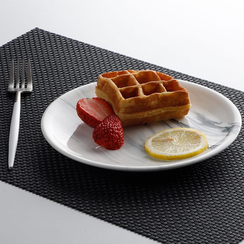 Popular Trending World Restaurant Blue Ozone Ceramic Plate, Marble Dishes And Plates, Marble Plate Set
