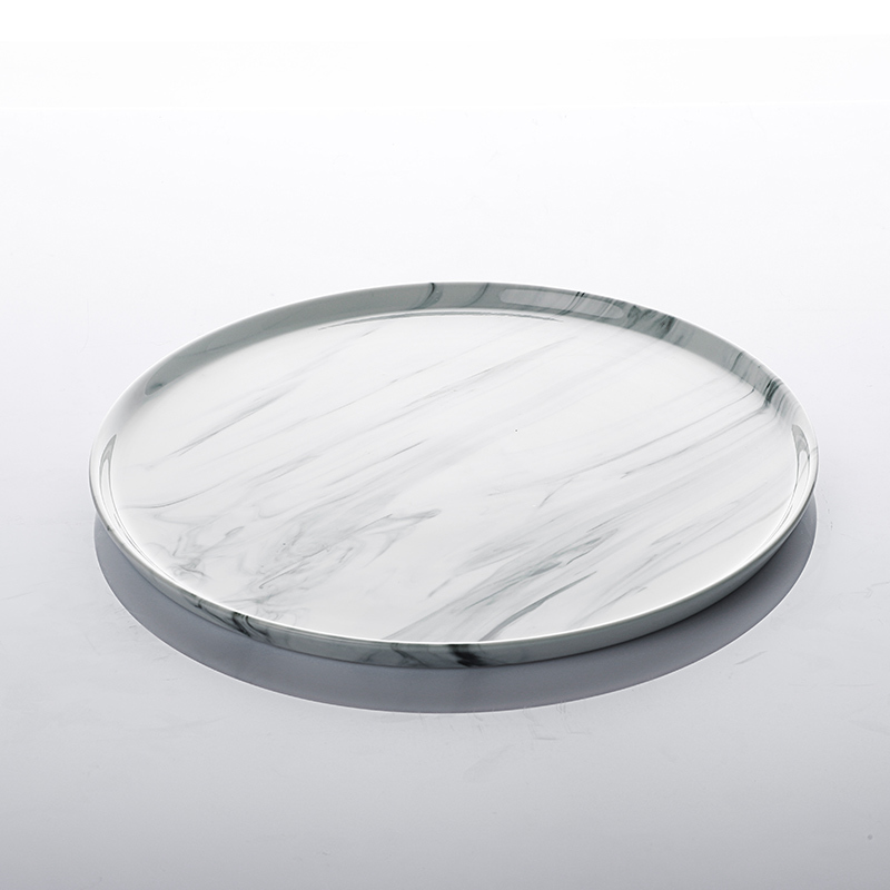 Trending Products Restaurant & Hotel White Stone Plates, Western Style Porcelain Custom Logo Ceramic Plates Cheap Marble Plate>