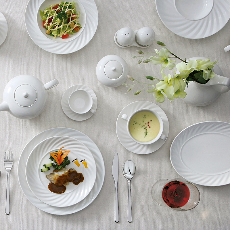 10.5 inch Ceramic Plates White Porcelain Dinnerware, Plates Restaurant Hotel Catering Party, Tableware China %