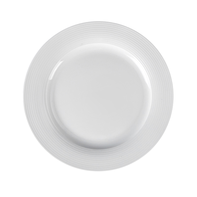 Chaozhou White Ceramic Dinner Plate For Hotel Luxury Design Good Quality For Selling