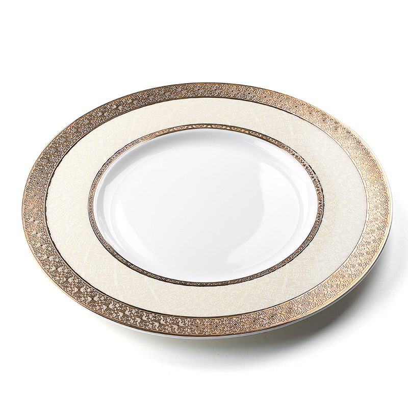 Wholesale China Ware Ceramic Dinner Plate Bone China, Best Quality China Ware Gold Tableware, Fine Bone China Dinner Plate#