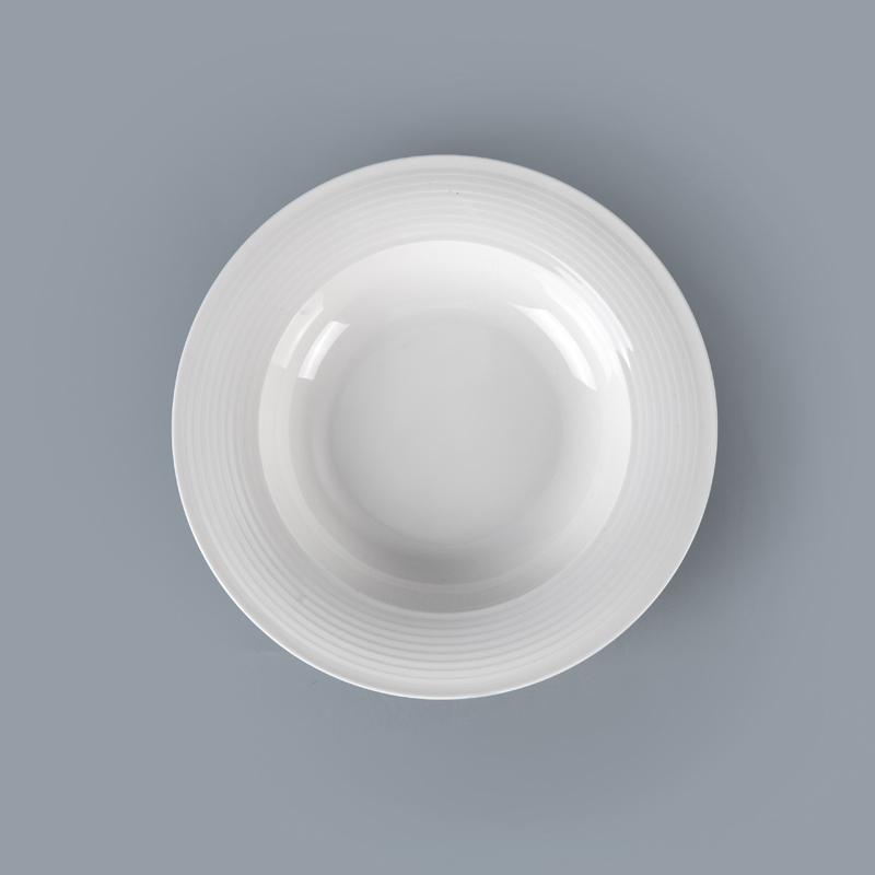 Wholesale uk porcelain tableware ceramics ramen bowl in market western style dishwasher-safe hotel white dinner bowl