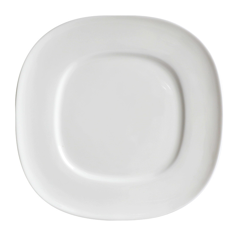 Hotel Ceramic Plate Square, Logo Dinnerware Restaurant Plates, White Dinner Plates