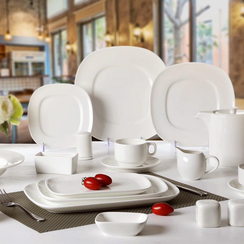 White Banquet Ceramic Plates Dinnerware Set, Hosen Royal White Fine Porcelain Plate, Designed Plates