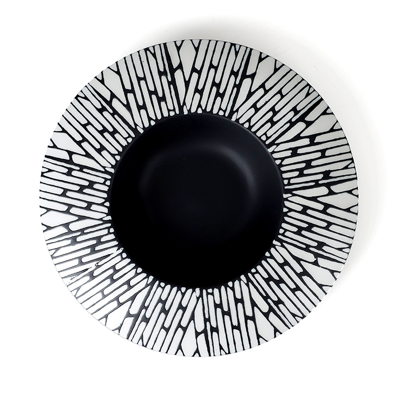 Special Lounge Tableware Ceramic Plate Hand Painted, Black Restaurant Ceramic Dish Sets, Good Quality Round Ceramic Plate&