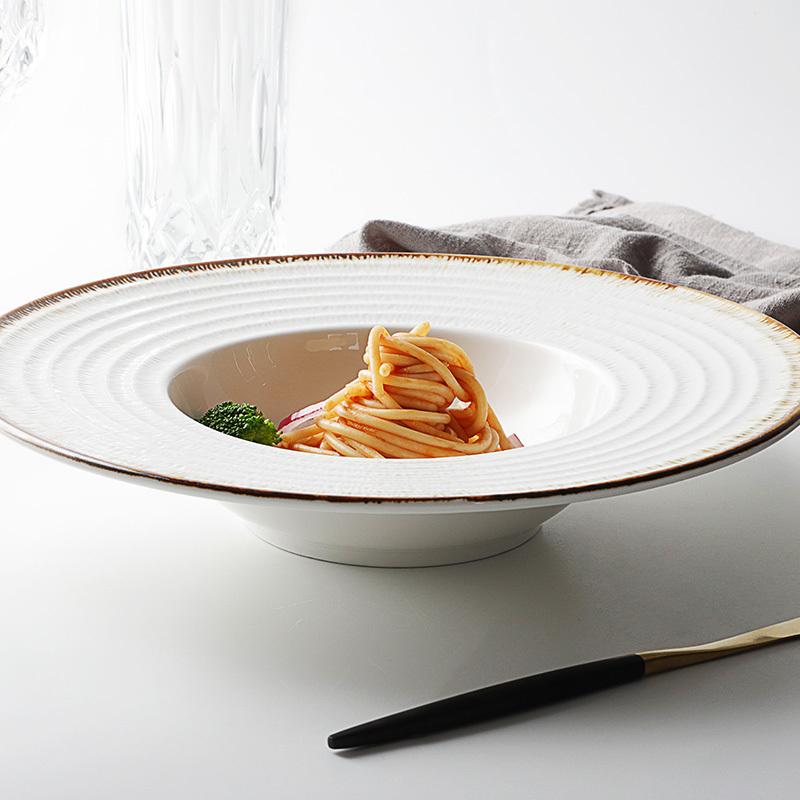 Chaozhou Factory Crockery Dish Set, Heavy Dessert Dish, Rustic Rim Italian Ceramic Dishes*