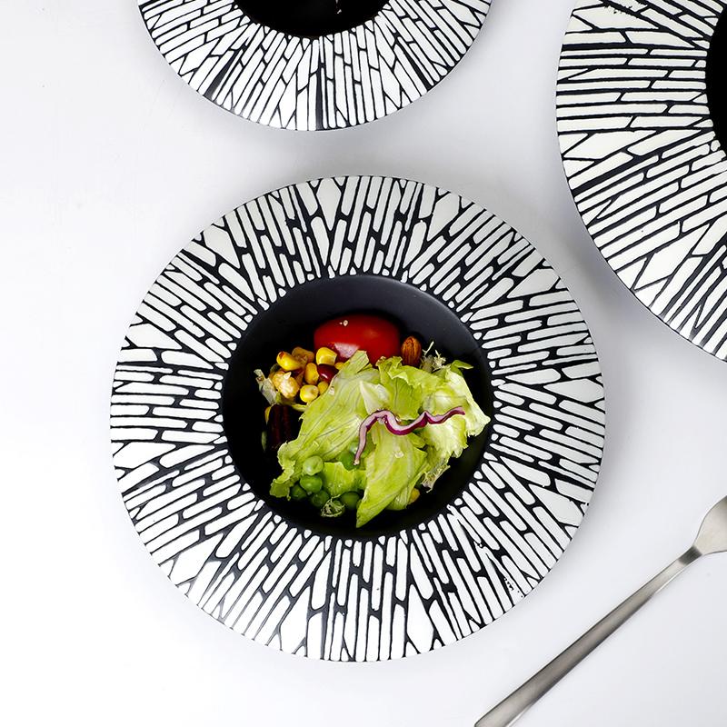 Verified Supplier Luxury Hotel Japanese Restaurant Dinnerware, Soup Bowl Ceramic Black Plate, Soup Plate Porcelain*