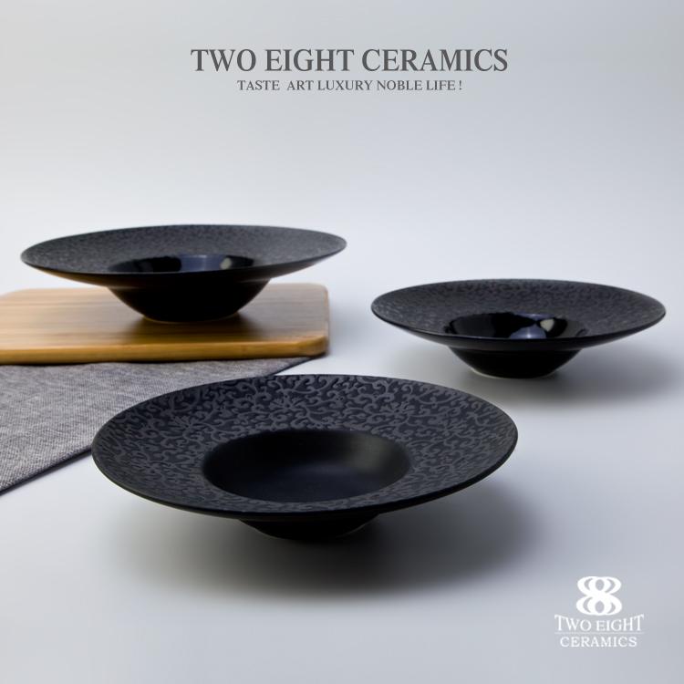 High price wholesale Black range tableware restaurant hotel black ceramic soup plate bowl