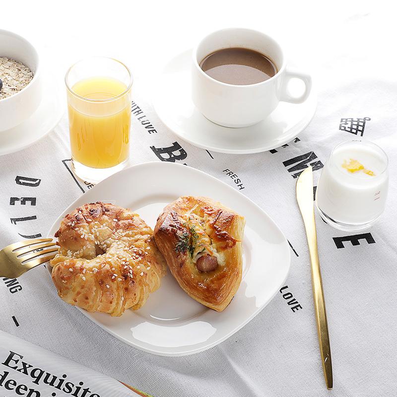 Fancy Square Restaurant Food Dish Set, Hosen Rolay White Fine Porcelain Plate, China Plates Manufacturer