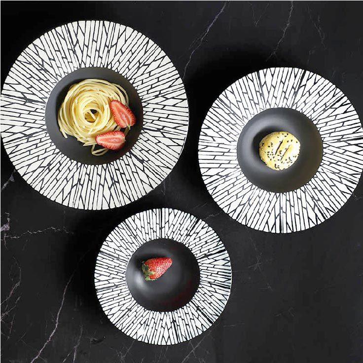 28ceramics Korean Style Black Dinner Plates, 28ceramics Modern Ceramic Tableware 8/9.5/10.75/12 Inch Black Salad Plate&