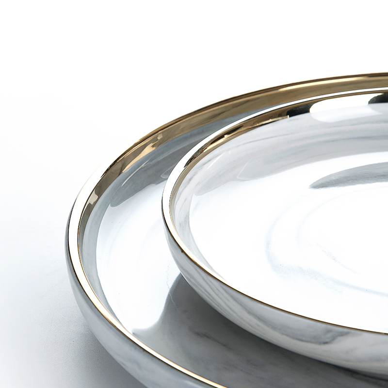 Hotel China Ware Gold Rim Grey Flat Round Ceramic Porcelain Marble Charger Plate, Marble Dish^