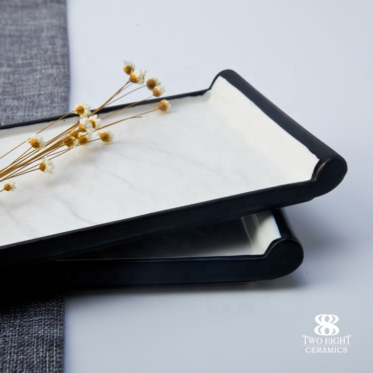 luxury chinaware long stem cake sushi plate crockery restaurant