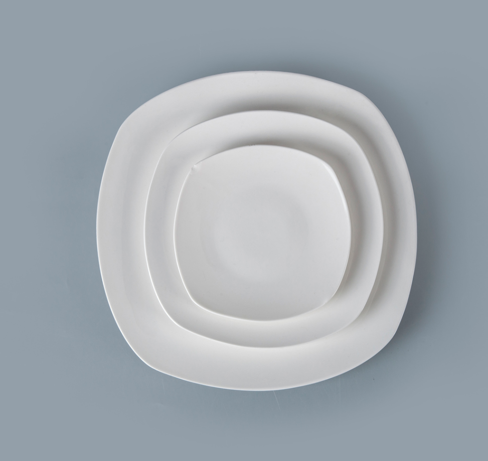 Hospitality Hotel & Restaurant Used Crockery Tableware, Plain White Ceramic Plate, Square Plate Restaurant^
