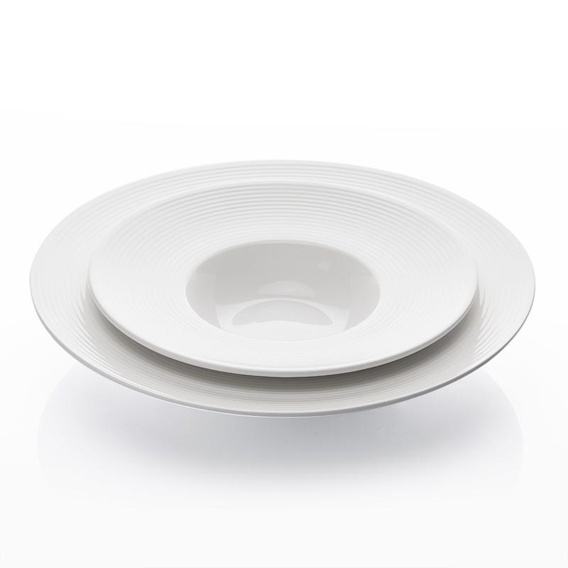 Luxurious Bone China Crokery Cafe Dinner White Ware Dessert Set Plate, Eco Friendly Restaurant Assiette Porcelaine Soup Plate~