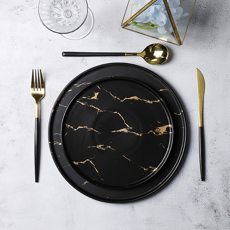 New Design Hotel Use Black &Gold Decal Ceramic Marble, Durable Two Eight Black &Gold Decal 8.5/10.5 Inch Marble Plates Ceramic&
