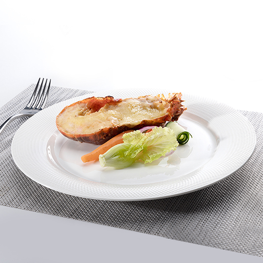 White Round Cheap Plates Ceramic Dinner, Grid Style Dishes Dinnerware Sets Plates, Charger Ceramics Plates In Bulk