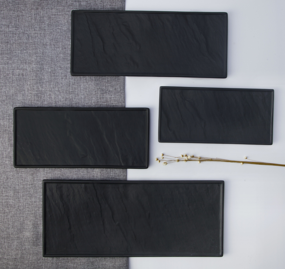 Special restaurant use matt black ceramic tableware sushi plate