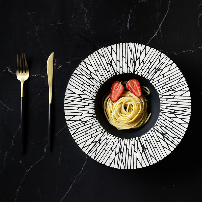 28ceramics Korean Style Black Color Dishes, 28ceramics Tableware Set 8/9.5/10.75/12 Inch Porcelain Pasta Bowls*