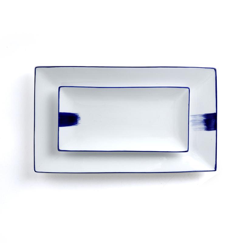 Porcelain Blue & White Rectangle Restaurant Ceramic Japanese Hand-Painted Sushi Plates and Dishes