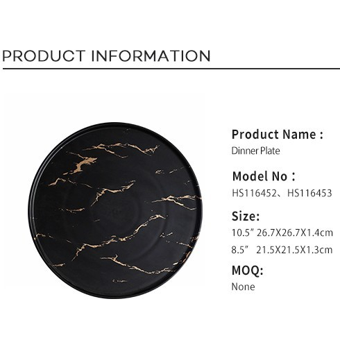 Durable Two Eight Black &Gold Decal Luxury Marble, New Arrivals Hotel Use Black &Gold Decal 8.5/10.5 Inch Marble Plate Sets&