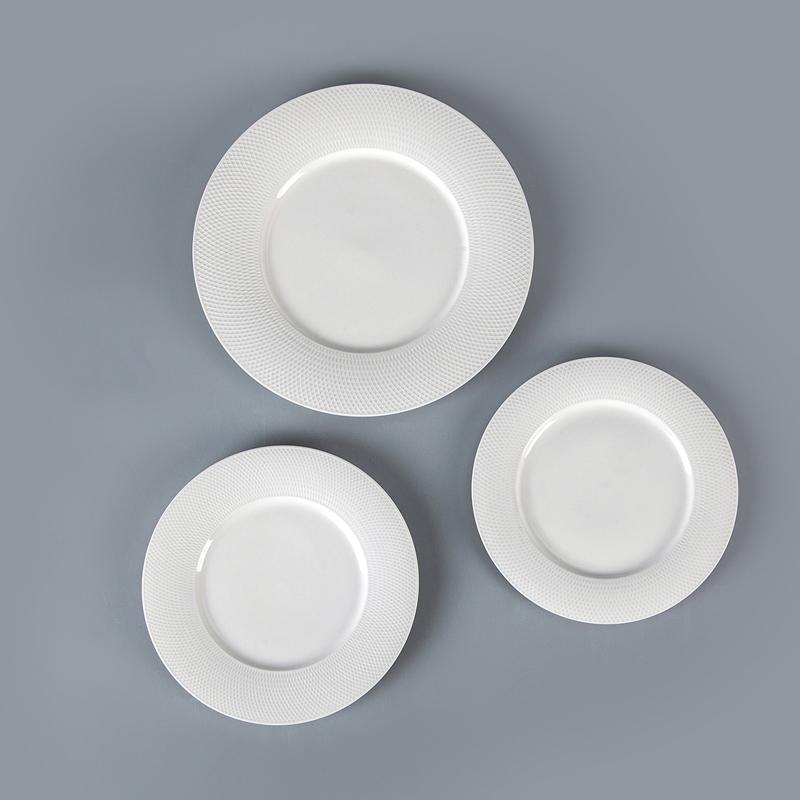 28 Dinnerware Wholesale Dinner Plates, China Design Plates Restaurant, Grid Disk Bulk Ceramic White Porcelain