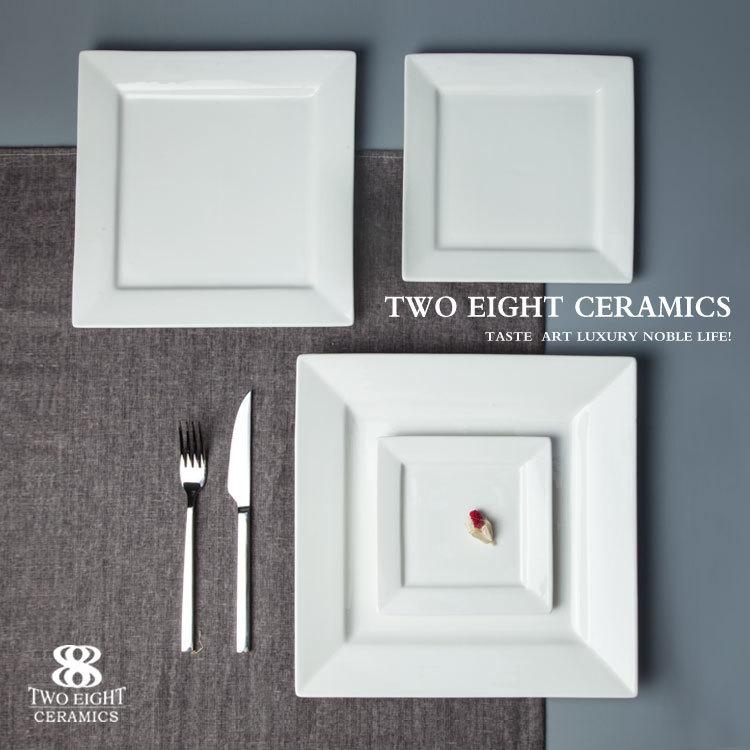 White Dinnerware Restaurant Dishes Square Plate, Ceramic Tableware Dinner Plates*