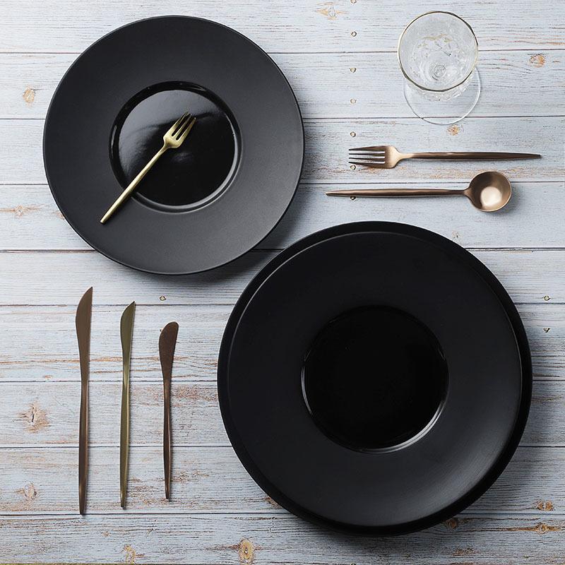 28ceramics Japanese Tableware Black Dinner Plates, Japanese Ceramic Tableware 10/11/12 Inch Black Plates For Restaurant&