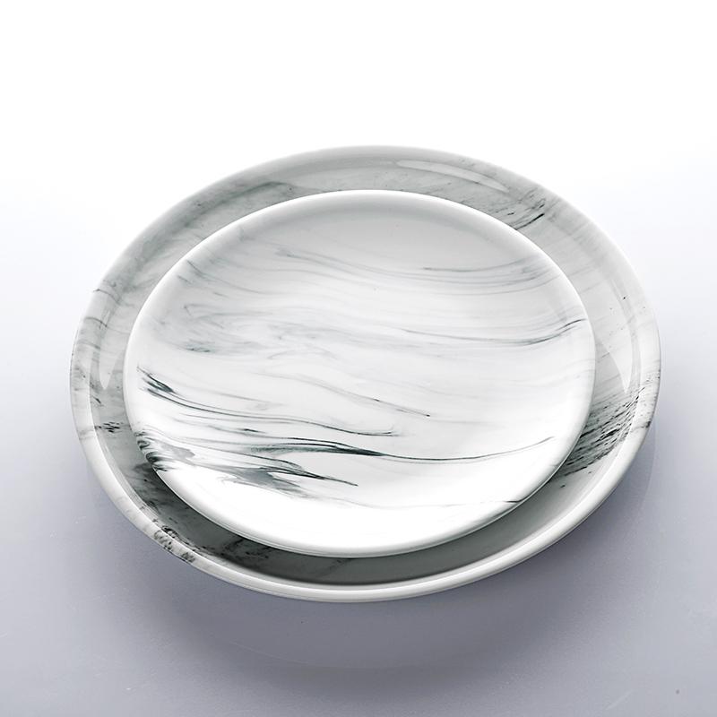 Special Design Restaurant Crokery Appetizer Plate, Wholesale Restaurant Porcelain Marble Shallow Plate#