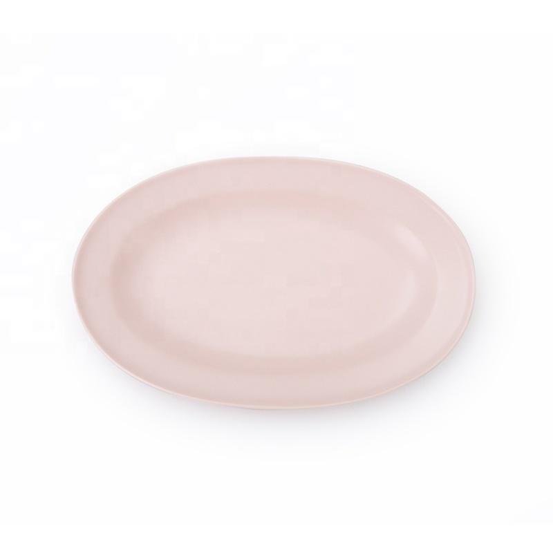 Hot Seller China Porcelain Matt Pink Restaurant Ellipse Dinner Plate, Pink Color Serving Plates Ceramic%