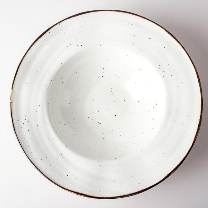Restaurant Crokery Dinnerware Soup Plate, Durable Glazed RimmedPasta Soup Ceramic Plate