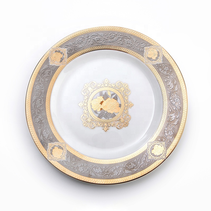 Elegance Embossed Plate Hotel Restaurant Crockery Tableware Dinner Plate, Bone China Charge Plate*