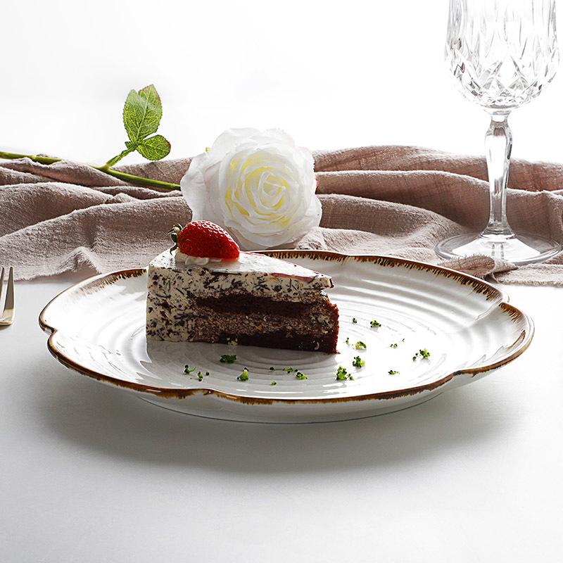 restaurant supply dinner plate, ceramic serving dinner, wholesale porcelain gold rimmed dinner plate&