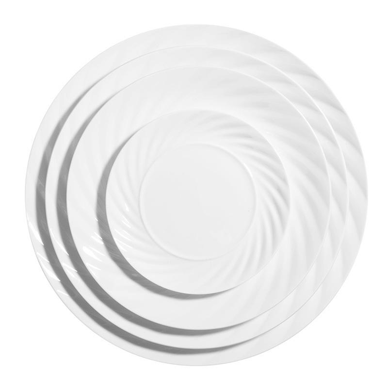 10/12/14inch Dish Washer Safer Plain Ceramic Plates,Elegant Plates Dinnerware Ceramic,Luxury White Ceramic Food Plates