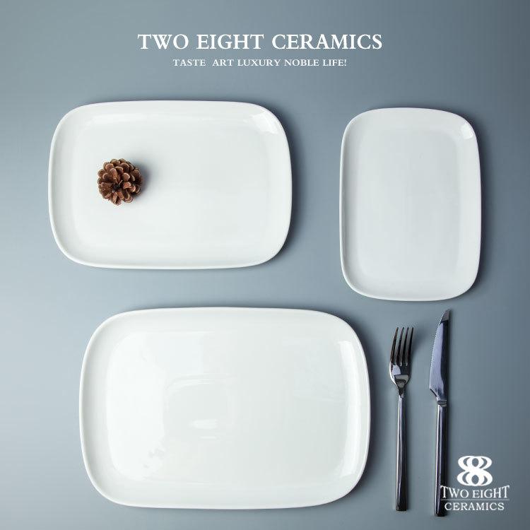 Wholesale Restaurant And Hotel Crockery Luxury Ceramic Dinner Set Retangular Flat Wedding Plate^