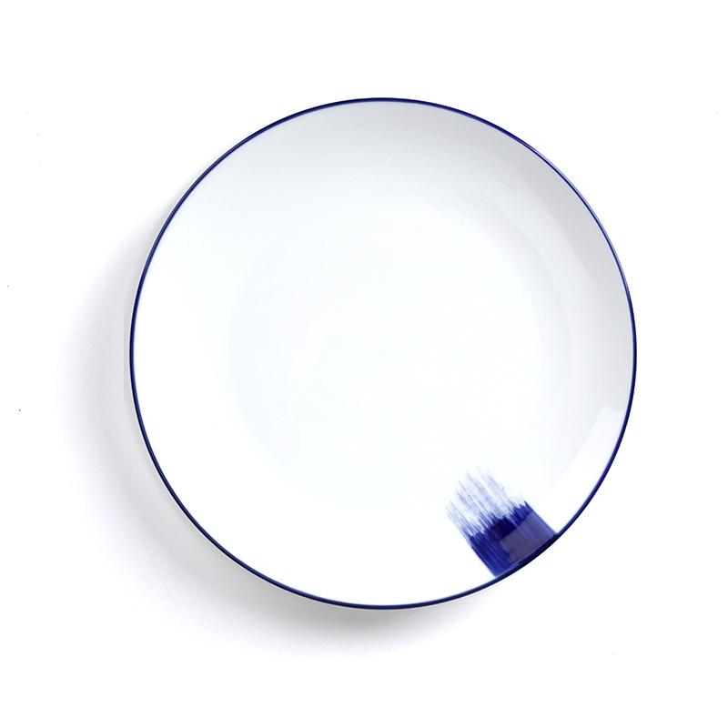 Blue Rim 10/12 Inch Custom Dinner Plate Ceramic Dinnerware Restaurant Custom Dishes