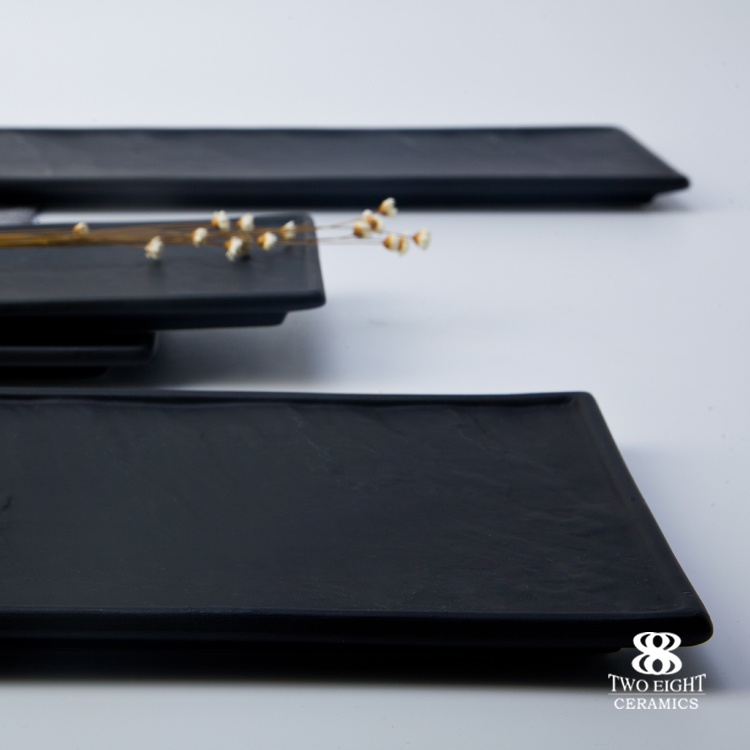 Japanese or Australian Modern Black Slate Rectangular Plates, Bar Slate Plate Wholesale, Restaurant Ceramic Dinner Plates Steak