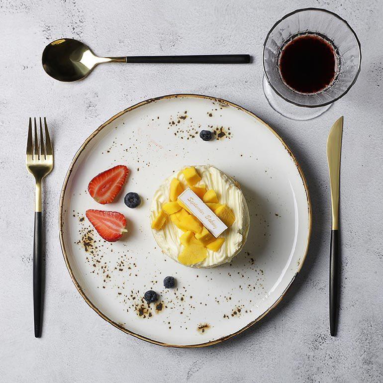 Tableware Factory Crockery Dish Set, Porcelain Plate For Restaurant, Color Glaze Banquet Tableware Ceramic Buffet Dish Set/