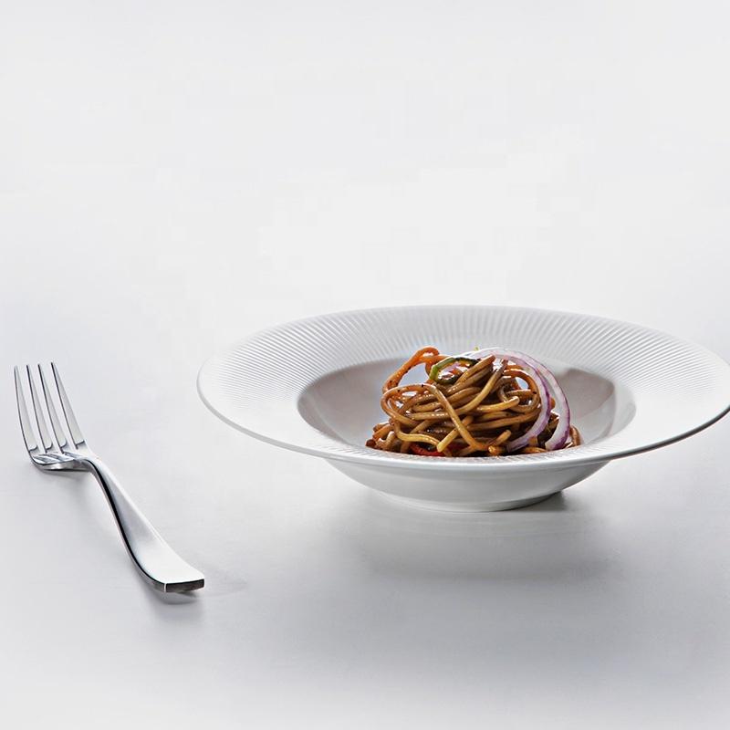 Eco Friendly Productos Innovadores Lifestyle porcelain Industrielle Poterie Vaisselle, China Porcelain Wide Rimmed Pasta Plate^