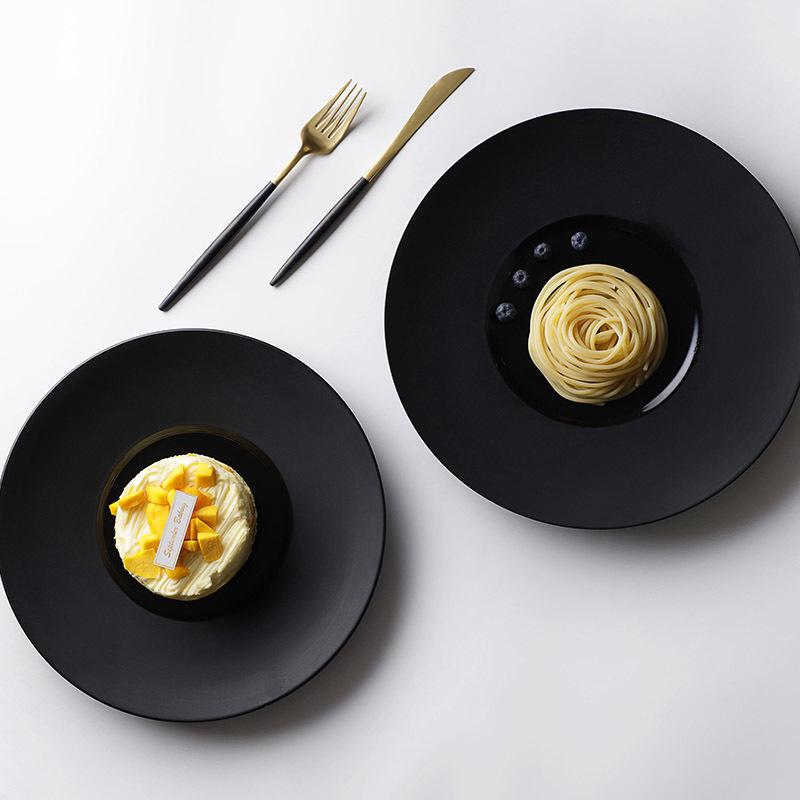 Hotel Restaurant Wedding Bouquet Colorful Plates Matte Black Ceramic Dinner Plate&