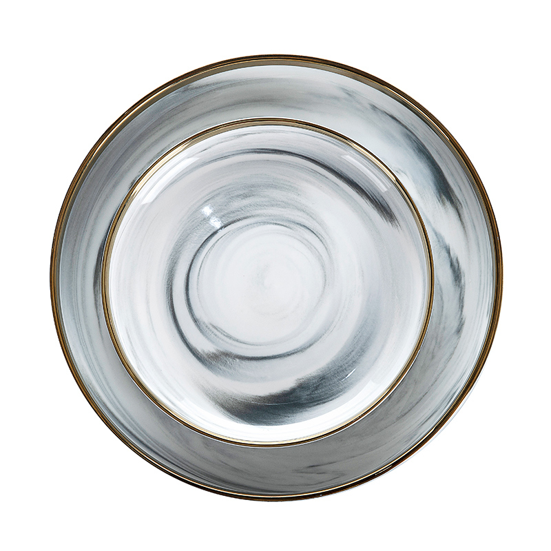 Hotel China Ware Gold Rim Grey Marble Plate Sets, European Gold Rim Grey Flat Round Ceramic Porcelain Marble Charger Plate^