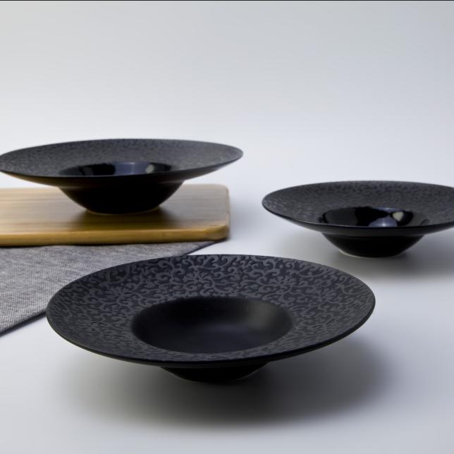 Japanese style hotel restaurant crockery tableware black pasta plates
