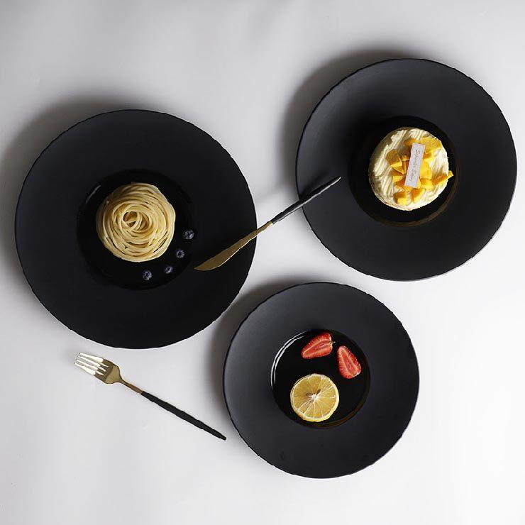 28ceramics Japanese Tableware Wholesale 10/11/12 Inch Black Plates, 28ceramics Japanese Ceramic Tableware Black Dinner Plates*