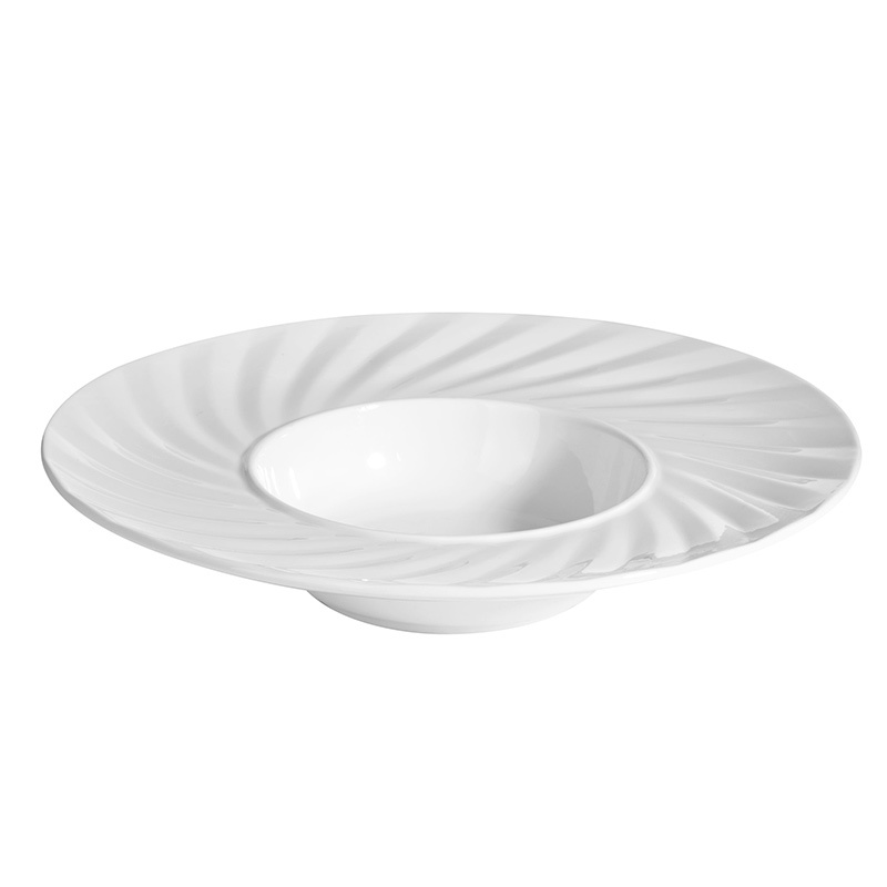 Hot Sale 9.25/12 Inch Banquet Dishes White Salad Dining Wholesale Ceramic Plates