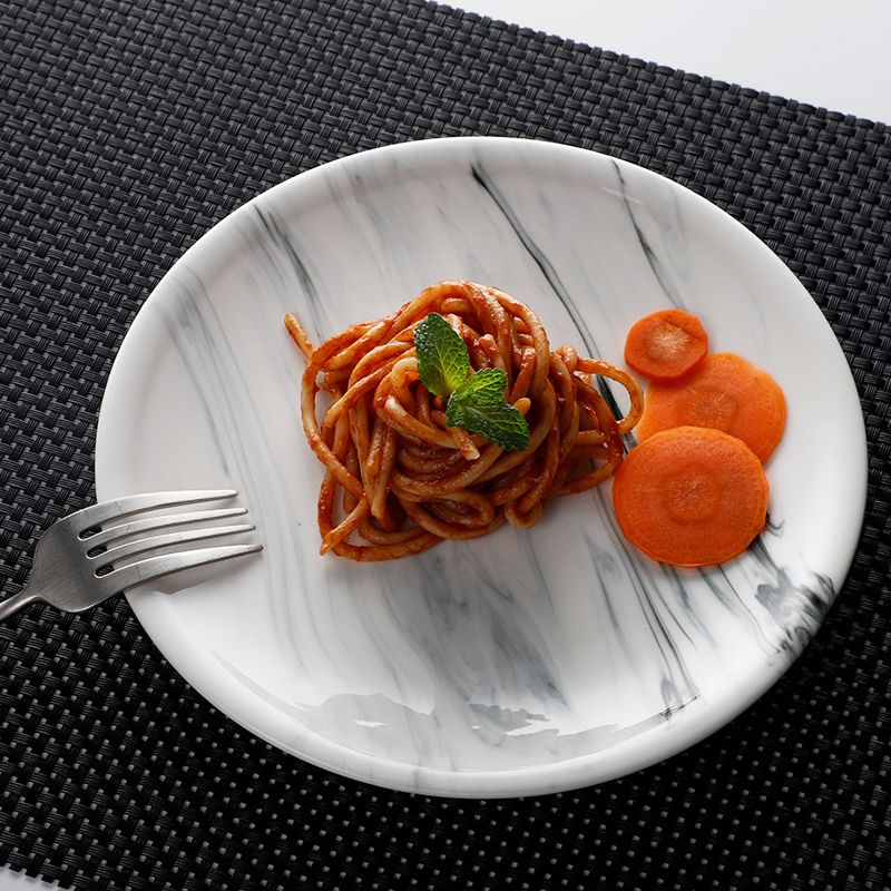 Trending Products Restaurant Use Luxury Marble, Eco Friendly Restaurant Use Porcelain Blue Tableware Marble Round Plate~