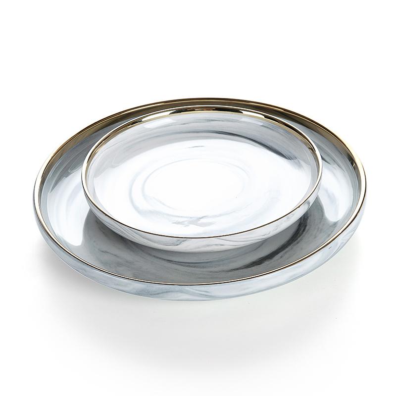 Restaurant Supplies Gold Rim Grey Marble Serving Plate, Latest Product Gold Rim Grey Marble Serving Plate~