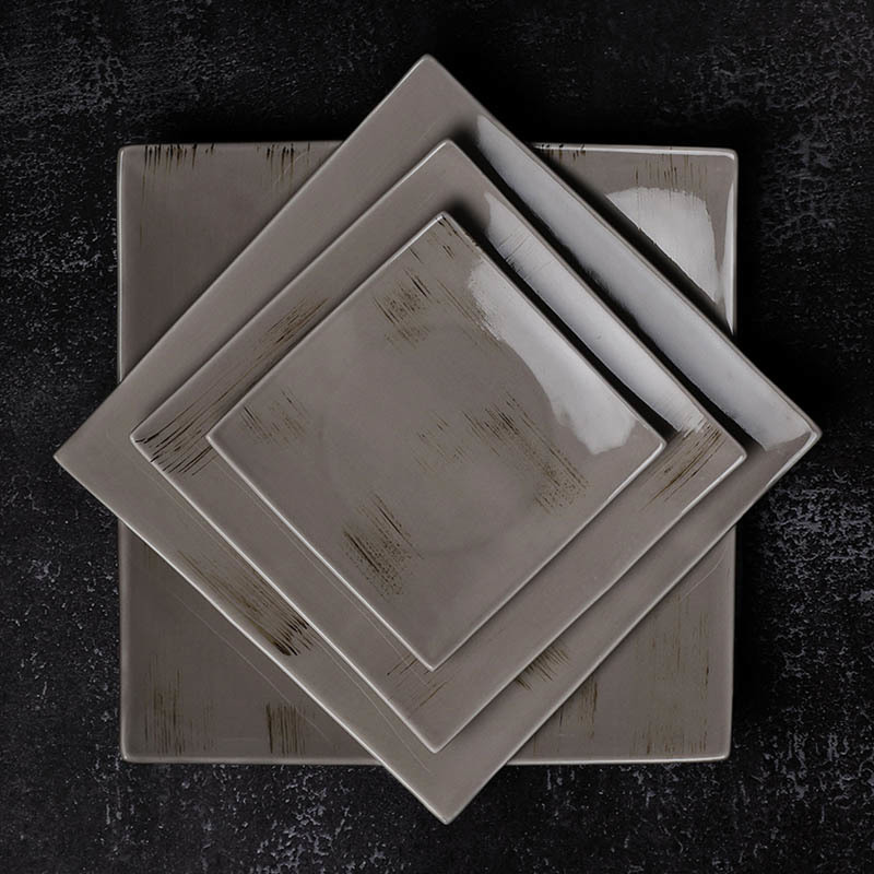 Rustic Lounge Vajilla De Porcelana Ceramic Food Plates, Plate For Restaurant Ceramic, Square Plates Serving Dishes/