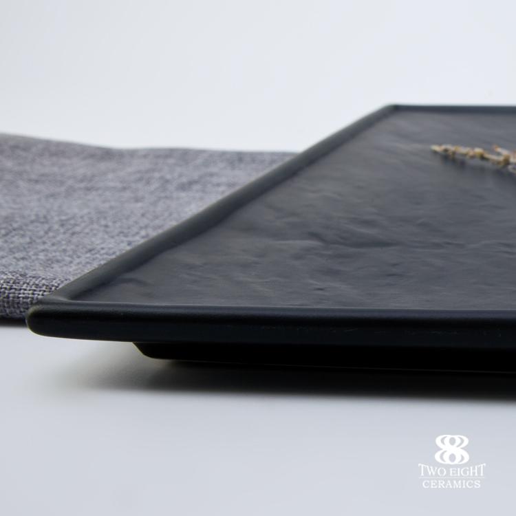 Wholesale chinese ceramic tableware square black slate porcelain plate fine luxury restaurant hotel plate dinner set