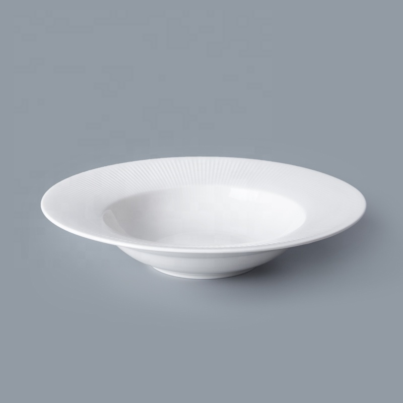New Arrival Restaurant White Porcelain Dinnerware Pasta Plate, China Porcelain Soup Plate%